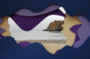 color and nature, blue lavender purple cream beach with projecting rocks, 2016